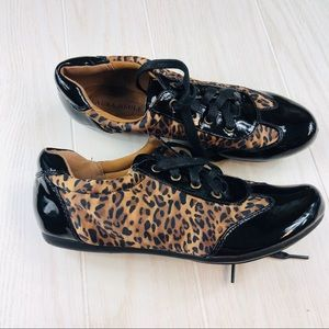 HP!!!Black & leopard print Laura Ashley shoes NWOT